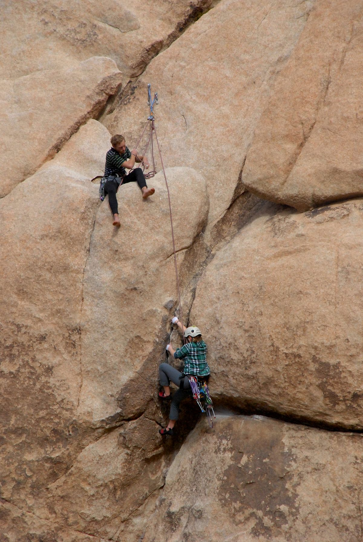 rock climbing teamwork